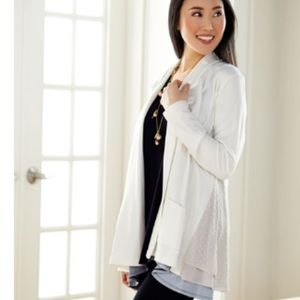 LOGO by Lori Goldstein French Terry Tunic Cardigan